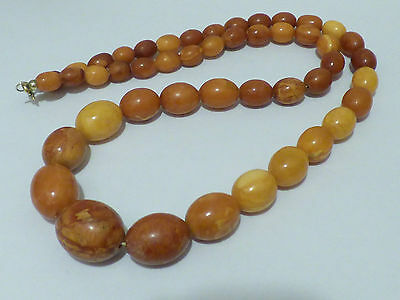 Art Deco Oliven Bernstein Butterscotch Kette-Real Amber Necklace 43gr. 琥珀項鍊