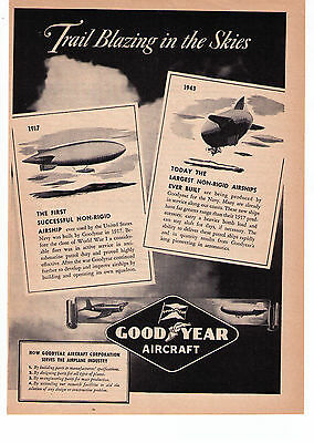 """1943 Good Year Aircraft """"Trailblazing In The Skies"""" Vintage Print Advertisement"""
