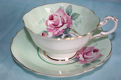 Lovely Vintage Paragon bone china tea cup saucer set- Pale green with Pink Roses