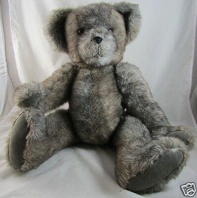 "24"" Gray Teddy Bear Suede Paws Artist Signed Jointed Limbs Swivel Head Plush"