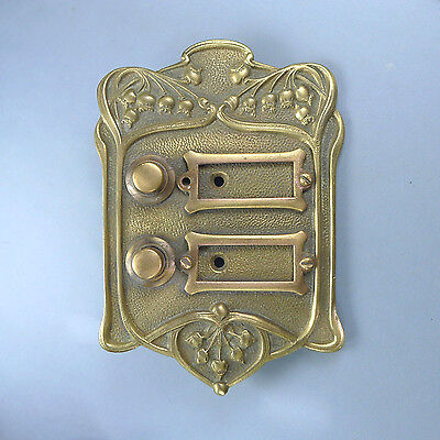 Art Nouveau Bronze Door Bell Push Button / Antique