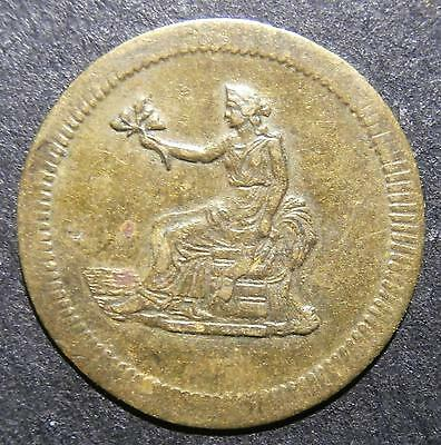 """German gaming counter - """"Spiel Marke"""" seated woman sash says """"Liberty"""" - 16.2mm"""