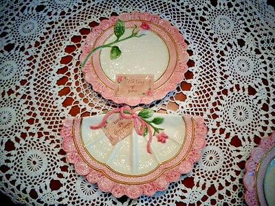 """Fitz & Floyd  """"thinking Of You""""   Rose Plate And 1/2 Plate Omnibus  Beautiful!!!"""