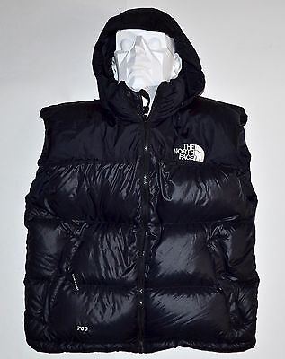 North Face 700 Fill Women's Large Black Goose Down Puffer Vest W/Hood Free Ship
