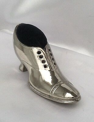 Vintage Ladies Shoe Novelty Pin Cushion, Silver Plate, Sewing Aid