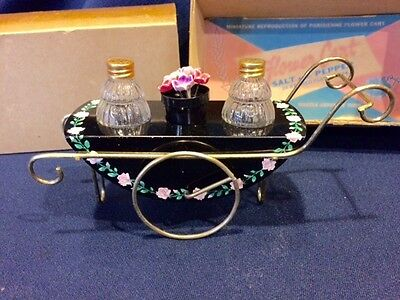 NOS Flower Cart Salt and Pepper Shaker Set in Box 24Kt Gold Plated Caps!