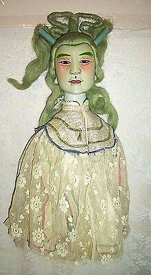 Antique Asian Chinese Hand Painted And Carved Opera Theater Hand Puppet
