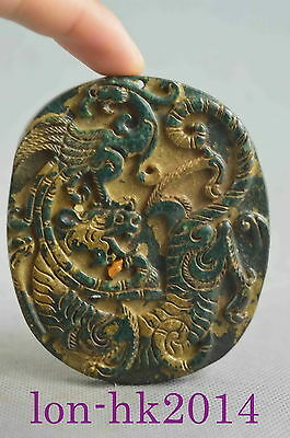 Collectible Handwork Old Jade Carve Mighty Dragon & Phoenix Dance Lucky Pendant