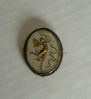 vintage Antique winged  fairy brooch pin, mother of pearl 1 & 1/2 inchs tall