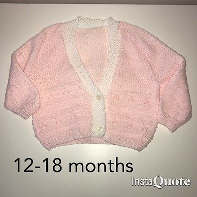Baby Girls Hand Knitted Cardigan ~ Age Approx 12-18 Months ~ Never Worn