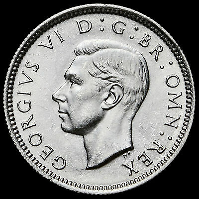 1943 George VI Silver Sixpence – A/UNC