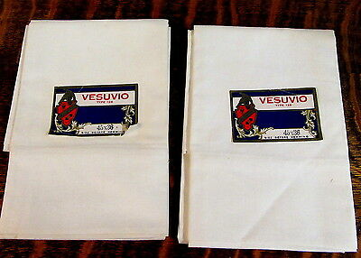 PAIR VESUVIO Antique Vtg NOS WHITE Cotton set of Pillowcase SET B&B 45X36