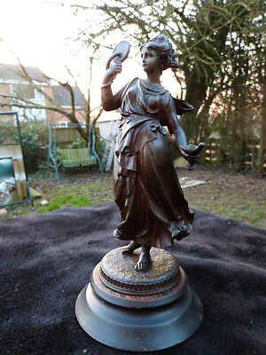 Lovely Antique Victorian Spelter Figure Of Lady On Wooden Plinth.
