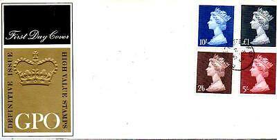 Machin High Values Fdc 5-3-69 Cds H/stamp F7