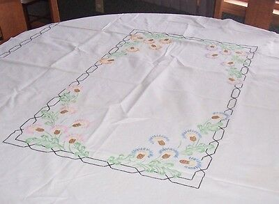 Vintage Hand Embroidered Flowers Tablecloth 52 x 67