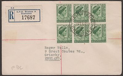 Australia 1950 King George VI 1½d Block of 6 Used on Registered First Day Cover