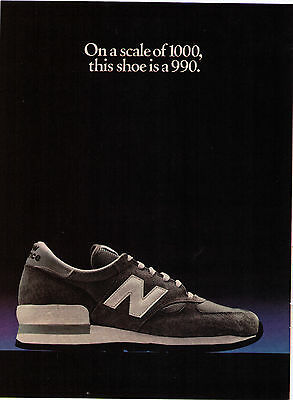 """1981 New Balance """"990"""" """"On A Scale Of 100, This Shoe is 990"""" Shoe Print Advert"""