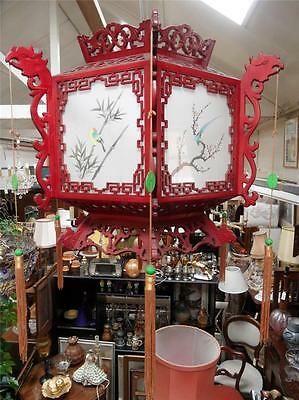 VERY LARGE VINTAGE 1960s CHINESE CARVED FRETWORK WOODEN ORIENTAL PALACE LANTERN