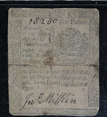1772 Pennsylvania 2 Shillings 6 Pence Colonial Currecny Note