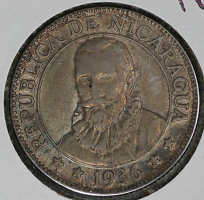 Nice Almost Uncirculated 1936 Nicaragua 25 Centavos Silver Coin