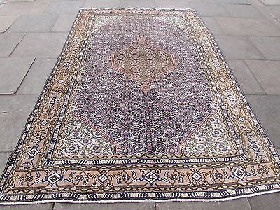 Old Hand Made Traditional Persian Oriental Wool Blue Large Carpet 290x190cm