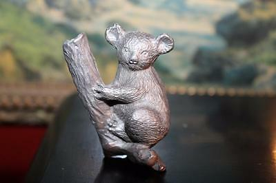 "Vintage 2.5"" Pewter Koala Bear Hugging Climbing Branch Tree Figure 569"