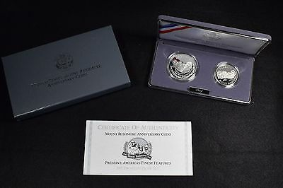 1991-S Mount Rushmore 2 Coin Commemorative Proof Set In Box W/ Cert
