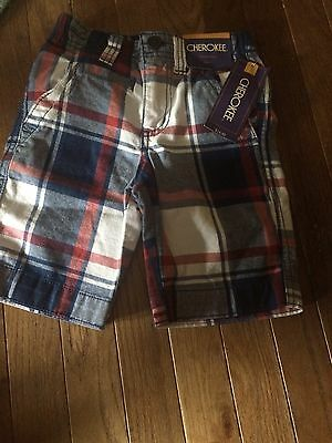 NWT Boys 5 Cherokee Plaid Short Red Blue