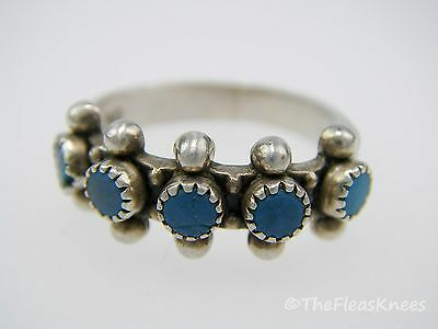 Native American SNAKE EYES RING Sterling Silver Turquoise Size 5