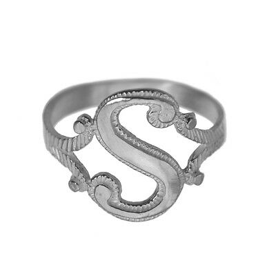 New Letter S Initial Ring name word Sterling Silver 925 Jewelry Pick your size
