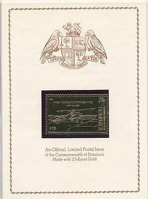 Official Limited Postal Issue Commonwealth of Dominica 23 karat Gold