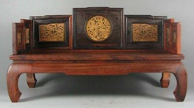 display stand red wood rosewood inlay boxwood design Miniature Luohan bed chair
