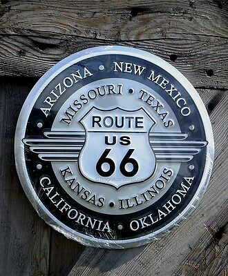 Route Us 66 Road Highway States Round Embossed Aluminum Metal Sign Wall Decor