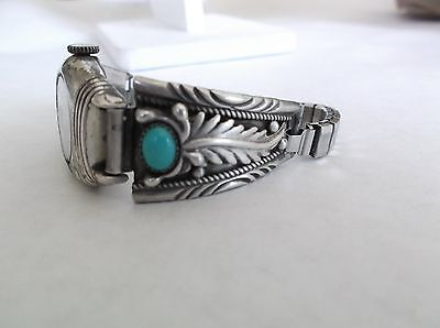 Southwest Sterling And Turquoise Watch Band Signed Y