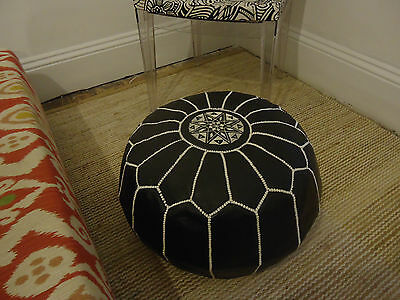 Luxury Moroccan Leather Ottoman Pouffe Pouf Footstool Black with White Stitch