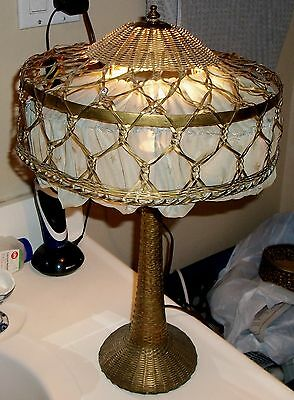 Stylish Arts & Crafts Mission Metal Basket Weave Table Lamp Original Shade