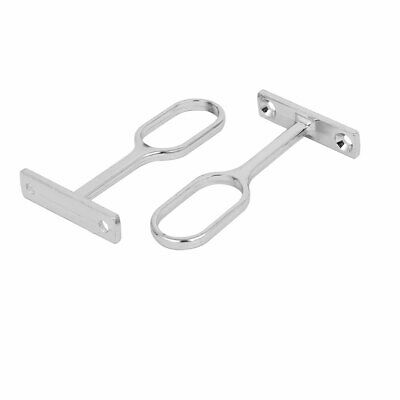 Wardrobe Metal Oval Pipe Clothes Lever Bracket Support 2pcs for 16mm Dia Tube