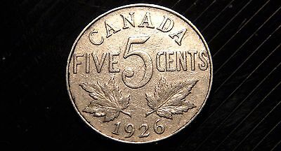 1926 FAR 6 Canada 5 Cents Coin – VERY RARE George V Era Canadian Nickel! – 5¢