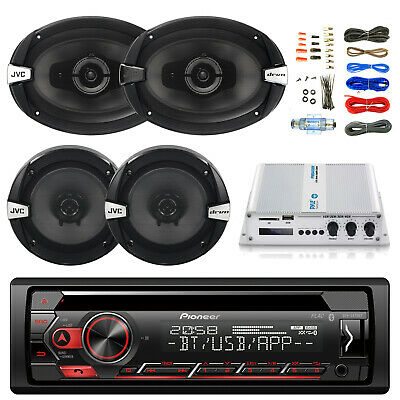 "Bluetooth CD Pioneer Radio, 400W 4-Channel Amp and Kit, 6.5"" and 6x9"" Speakers"