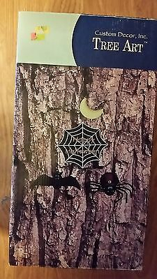 Custom Decor Inc Tree Art #6019 Moon Sptder Bat Web W/ Happy Halloween New