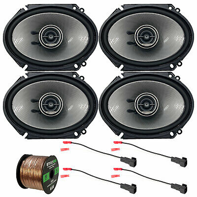 "Kenwood Car 6x8"" Coaxial 2Way Speakers, 98-UP Ford Harness, 50FT Speaker Harness"
