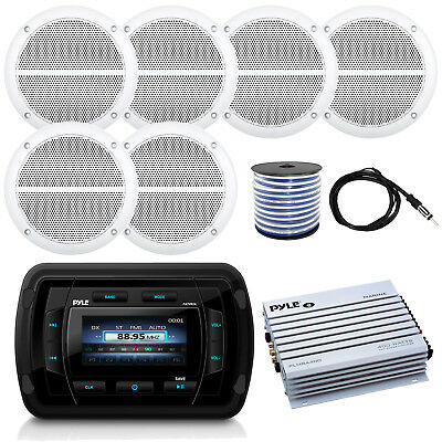 "Pyle Marine AM FM Bluetooth Radio, 400W Amp, 6.5"" Speakers and Wiring, Antenna"