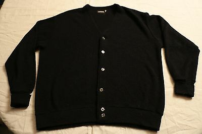 Vintage Men's IZOD Cardigan Sweater Black XL L Acrylic