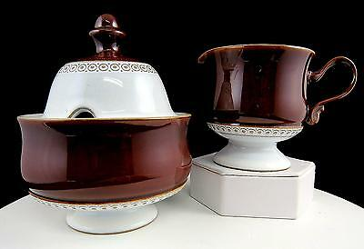 "Denby Langley Lovatts Brown And White Geometric Accent 5 3/8"" Sugar And Creamer"
