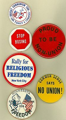 6 Vintage 1960's-70's Right Wing Political Cause Pinback Buttons Stop Busing