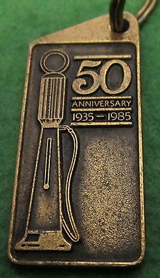 CHEVRON GAS and OIL CANADA 1985 BRASS KEY CHAIN EXCELLENT 50th ANNIVERSARY