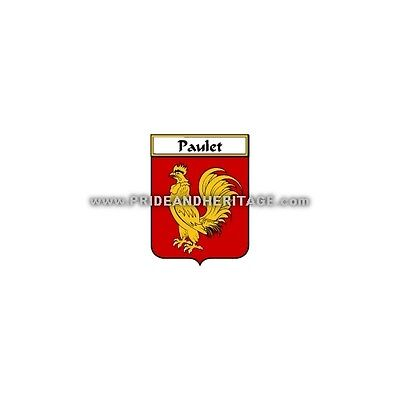 """Genealogy, Family Crest 6"""" Decal- French- Paulet"""