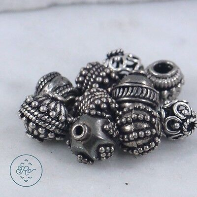 Sterling Silver - (QTY 10) BALI Bead Charm Pendant 20.6g - Lot IC2413