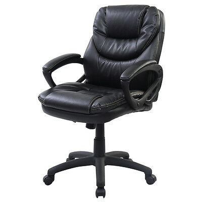PU Leather Ergonomic Mid Back Executive Computer Desk Task Office Chair Black