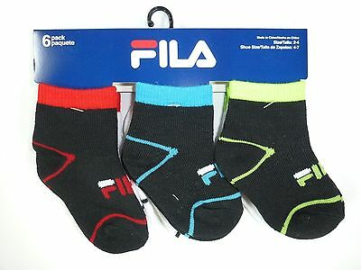 6 Pairs Boys Girls Fila Toddlers Infant Multicolor Cotton Socks Size 2-4T F277